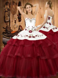 Top Selling Wine Red Organza Lace Up Sweetheart Sleeveless Ball Gown Prom Dress Sweep Train Embroidery and Ruffled Layers