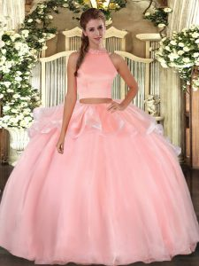 Sleeveless Floor Length Beading Backless Sweet 16 Dresses with Pink