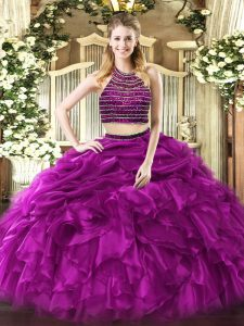 Fuchsia Tulle Zipper Halter Top Sleeveless Floor Length Quinceanera Dresses Beading and Ruffles