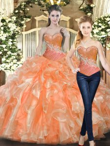 Pretty Orange Red Tulle Lace Up Sweetheart Sleeveless Floor Length 15th Birthday Dress Beading and Ruffles