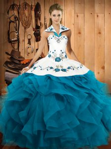 High Quality Teal Tulle Lace Up Quinceanera Gown Sleeveless Floor Length Embroidery and Ruffles