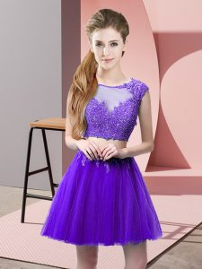 Purple Scoop Zipper Appliques Prom Dress Sleeveless