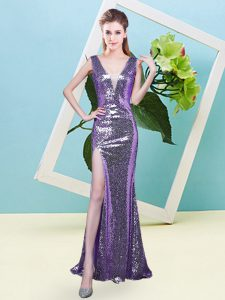 Enchanting Floor Length Zipper Homecoming Dress Eggplant Purple for Prom and Party with Sequins