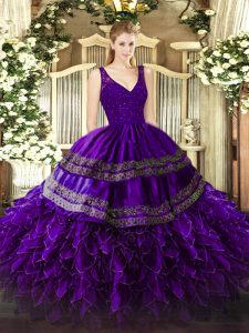 Organza Sleeveless Floor Length Quinceanera Dress and Beading and Lace and Ruffles