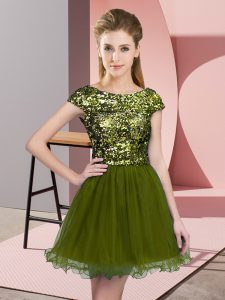 Olive Green Tulle Zipper Vestidos de Damas Cap Sleeves Mini Length Sequins