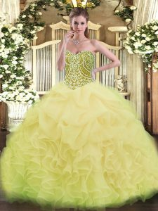 Sweetheart Sleeveless Quinceanera Dress Asymmetrical Ruffles Yellow Green Organza
