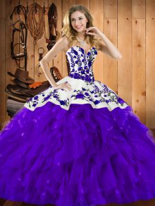 Pretty Satin and Organza Sweetheart Sleeveless Lace Up Embroidery and Ruffles Quinceanera Gown in Purple