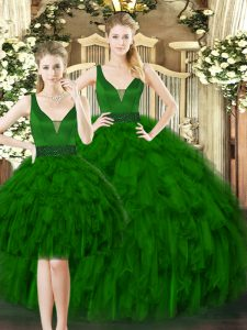 Floor Length Dark Green Ball Gown Prom Dress Straps Sleeveless Lace Up