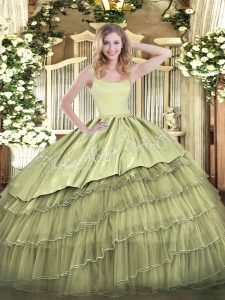 Latest Olive Green Zipper Straps Embroidery and Ruffled Layers Quinceanera Gowns Organza Sleeveless