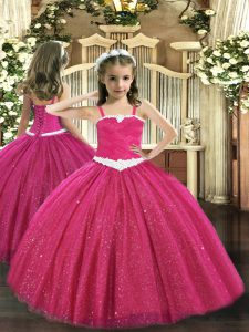 Unique Floor Length Hot Pink Pageant Dress for Teens Tulle Sleeveless Appliques