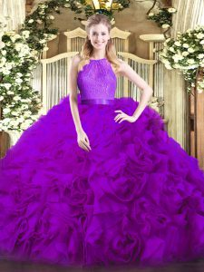 Elegant Ball Gowns Sweet 16 Quinceanera Dress Eggplant Purple Scoop Fabric With Rolling Flowers Sleeveless Floor Length Zipper