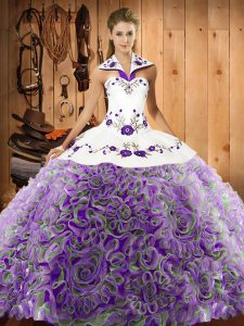 Latest Halter Top Sleeveless Fabric With Rolling Flowers Quinceanera Gown Embroidery Sweep Train Lace Up
