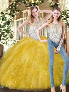 Sleeveless Organza Floor Length Zipper 15th Birthday Dress in Yellow with Beading and Ruffles
