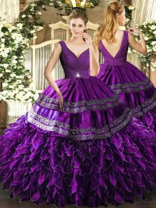 Smart Eggplant Purple Ball Gowns V-neck Sleeveless Organza Floor Length Backless Beading and Ruffles and Ruching Ball Gown Prom Dress
