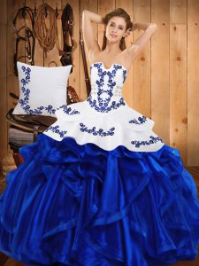 Super Satin and Organza Sleeveless Floor Length Sweet 16 Dress and Embroidery and Ruffles