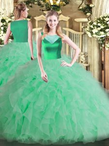 Sleeveless Floor Length Beading and Ruffles Side Zipper 15 Quinceanera Dress with Apple Green