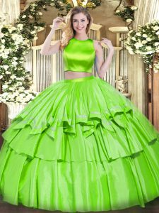Floor Length Quinceanera Gowns High-neck Sleeveless Criss Cross