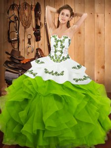 Sleeveless Satin and Organza Lace Up 15th Birthday Dress for Party and Military Ball and Sweet 16 and Quinceanera