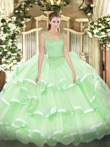 Unique Apple Green Straps Zipper Beading and Ruffled Layers 15 Quinceanera Dress Sleeveless