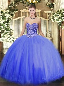 Dynamic Blue Lace Up 15 Quinceanera Dress Beading Sleeveless Floor Length