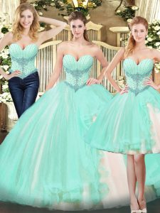 Apple Green Sweet 16 Dress Military Ball and Sweet 16 and Quinceanera with Beading and Ruffles Sweetheart Sleeveless Lace Up