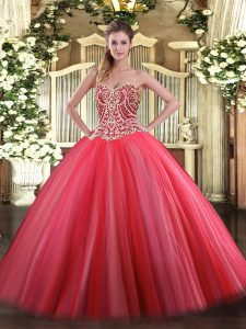 Coral Red Lace Up Sweetheart Beading Sweet 16 Quinceanera Dress Tulle Sleeveless