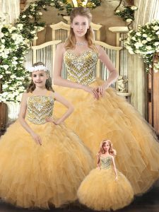 Sweetheart Sleeveless Lace Up Ball Gown Prom Dress Gold Organza