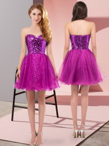 Tulle Sweetheart Sleeveless Zipper Sequins Prom Party Dress in Fuchsia