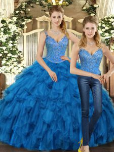 Glorious Teal Organza Lace Up Straps Sleeveless Floor Length Ball Gown Prom Dress Beading and Ruffles