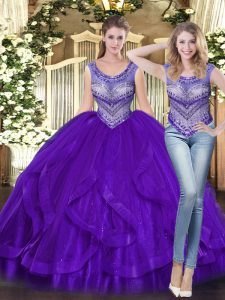 Dynamic Ball Gowns Sweet 16 Dress Purple Scoop Tulle Sleeveless Floor Length Lace Up