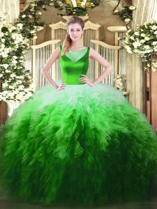 Glorious Multi-color Ball Gowns Tulle Scoop Sleeveless Beading and Ruffles Floor Length Zipper 15 Quinceanera Dress