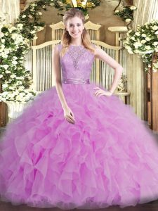Luxurious Floor Length Backless 15 Quinceanera Dress Lilac for Military Ball and Sweet 16 and Quinceanera with Beading and Ruffles