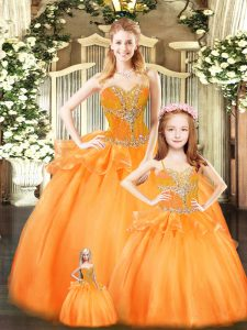 Orange Red Sweetheart Neckline Beading and Ruffles Quinceanera Gowns Sleeveless Lace Up
