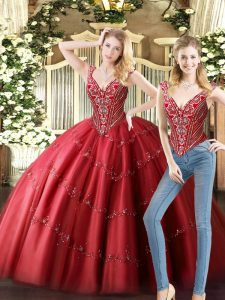 Enchanting Wine Red Two Pieces V-neck Sleeveless Tulle Floor Length Lace Up Beading Sweet 16 Dress