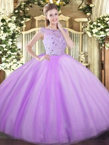 Fantastic Floor Length Ball Gowns Sleeveless Lavender Quince Ball Gowns Zipper