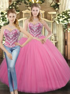 Excellent Rose Pink Ball Gowns Beading Sweet 16 Quinceanera Dress Lace Up Tulle Sleeveless Floor Length