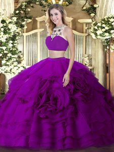 Floor Length Backless Quinceanera Dress Fuchsia for Military Ball and Sweet 16 and Quinceanera with Beading and Ruffled Layers
