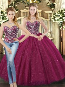 Customized Sweetheart Sleeveless Tulle Quinceanera Gown Beading Lace Up