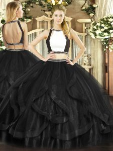 Discount Floor Length Black Quinceanera Gown Halter Top Sleeveless Backless