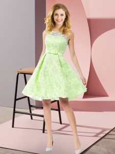 Knee Length Yellow Green Quinceanera Dama Dress Scoop Sleeveless Zipper