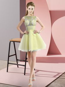 Glittering Yellow A-line Beading and Bowknot Prom Party Dress Zipper Chiffon Sleeveless Mini Length