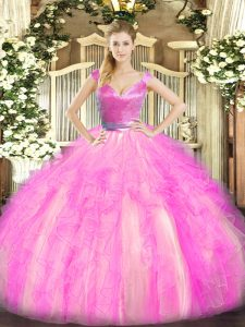 Customized Rose Pink Tulle Zipper 15 Quinceanera Dress Sleeveless Floor Length Beading and Ruffles