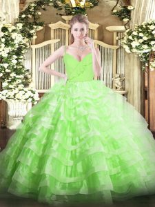 Floor Length Sweet 16 Dresses Organza Sleeveless Ruffled Layers