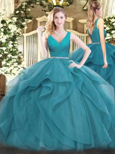 Teal Zipper 15th Birthday Dress Beading and Ruffles Sleeveless Floor Length