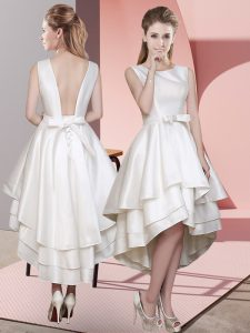 Captivating White Sleeveless Ruffled Layers High Low Damas Dress