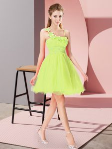Charming Mini Length Zipper Homecoming Dress Yellow Green for Prom and Party with Beading and Hand Made Flower