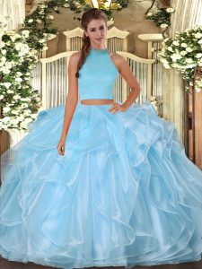 Clearance Sleeveless Floor Length Beading and Ruffles Backless Sweet 16 Quinceanera Dress with Light Blue