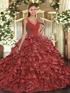 Sophisticated Rust Red Organza Backless Quinceanera Dresses Sleeveless Sweep Train Ruffles