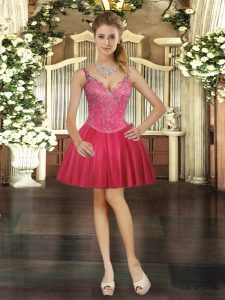 Sleeveless Beading Lace Up Prom Dress