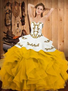 Fantastic Yellow And White Ball Gowns Embroidery and Ruffles Ball Gown Prom Dress Lace Up Satin and Organza Sleeveless Floor Length